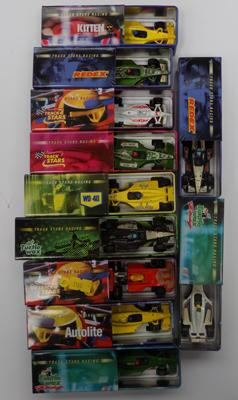 Collection of 11 boxed vintage sports cars and loose un-boxed