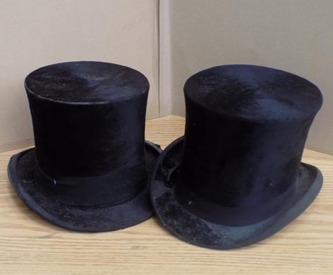 Pair of vintage top hats makers Herbert Johnson & E Bissington