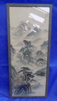 Large oriental painting on silk