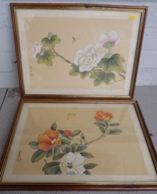 Two framed oriental drawings