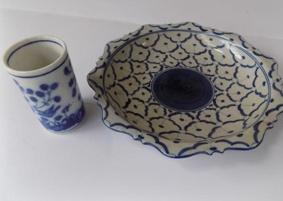 Vintage Portuguese dish in blue & white pattern & other blue & white pottery piece