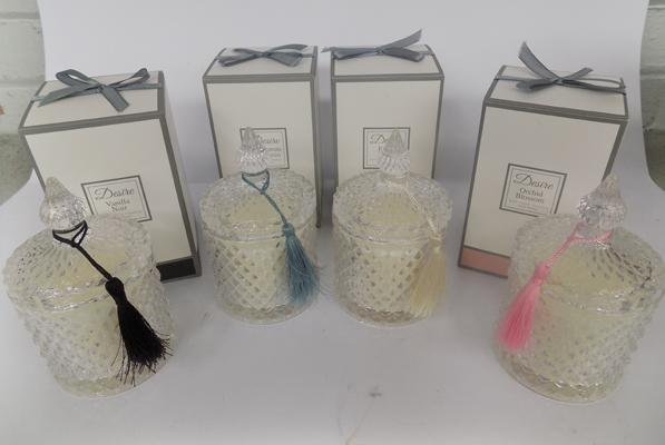 Four new hand poured scented candles in glass jars, 4 different scents - large