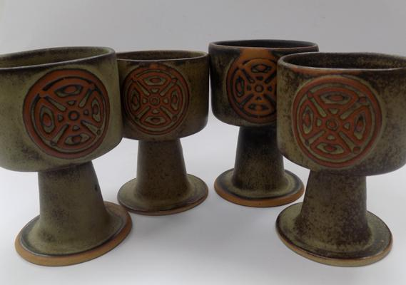 4x Vintage Cornish Tremar pottery wine goblets
