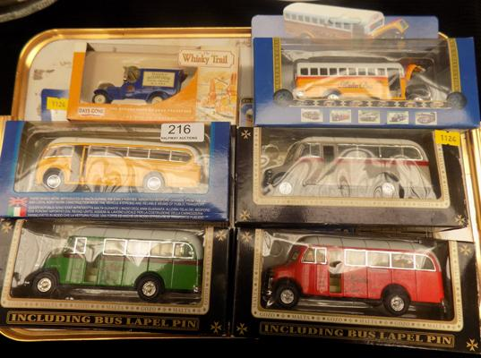 Selection of die-cast buses in boxes