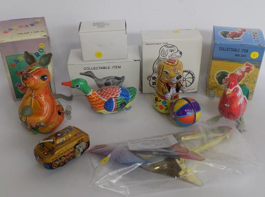 Selection of tin plate wind up animals