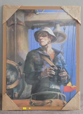 Paint on board of soldier