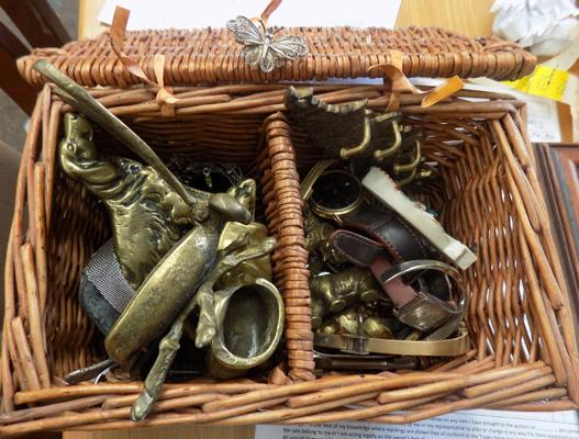 Basket of costume jewellery, brasses etc