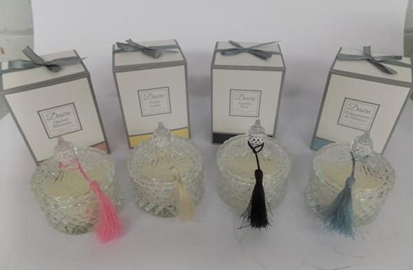 Four new hand poured scented candles in glass jars, 4 different scents - small