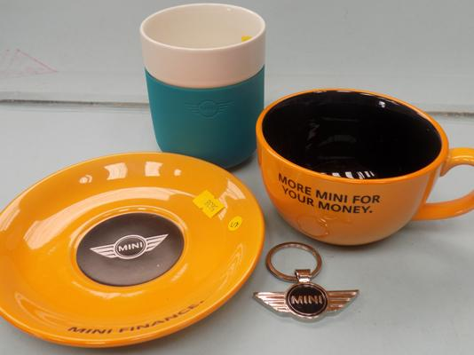 BMW mini collectables - mugs + badge keyring