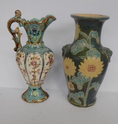 Victorian jug case & 1 other vase