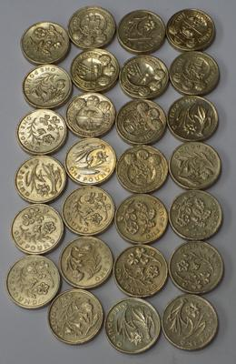 Approx. 27 pound coins, mixed, of floral design & cities
