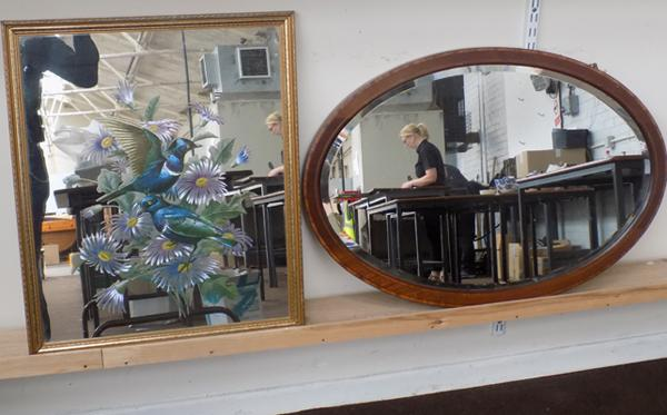 Two mirrors, one etched with bird & flowers