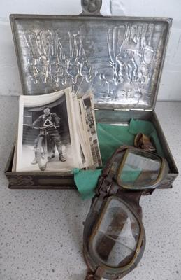 Tin of speedway photos + motorcycle goggles