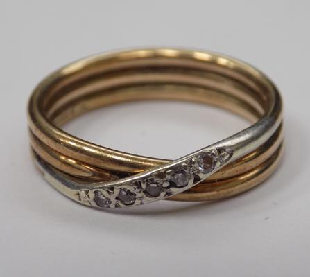 9ct gold & diamond, three band crossover ring, size N 1/2
