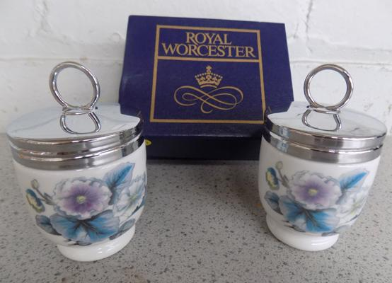 Pair of Royal Worcester egg coddlers in box