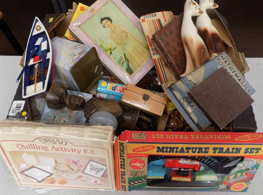 Mixed box of collectables inc vintage tins, stamps etc