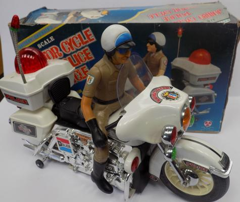 2 boxed 1/6 scale Police motor cycles 1960's battery operated with sirens