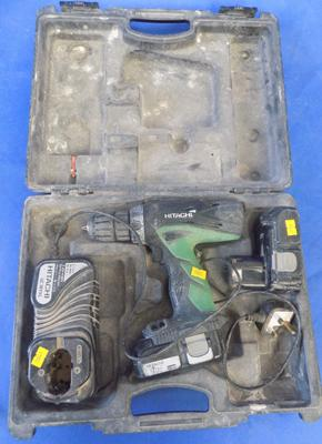 Hitachi 18v drill, batteries, charger - W/O