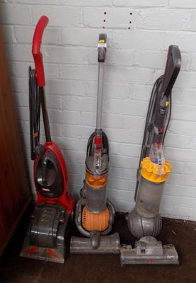 Three hoovers (two Dyson, one Vax)