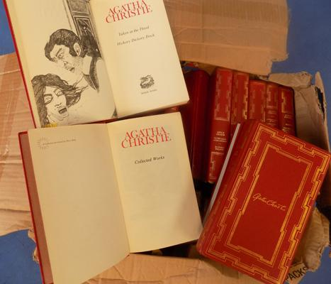 Box of old  Agatha Christie collectable books - approx 36