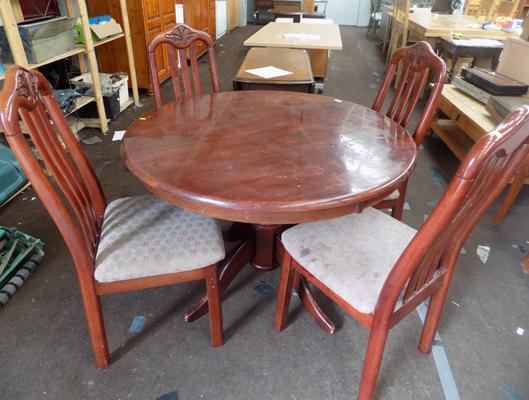 Mahogany table & four chairs