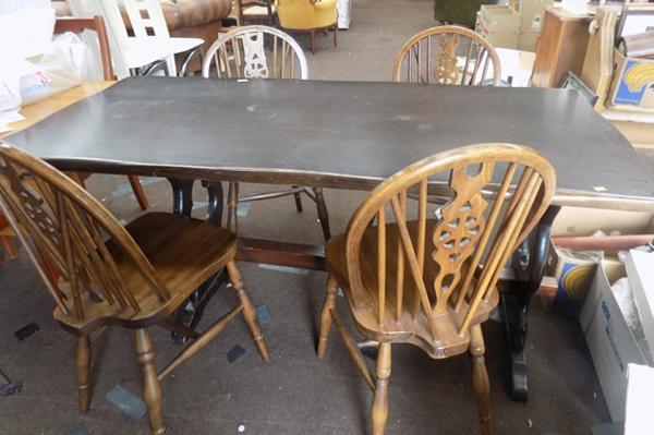 Table & four wheel back chairs