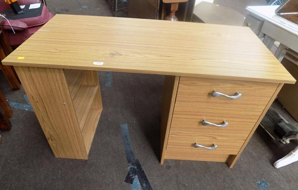 Three drawer desk with side shelves