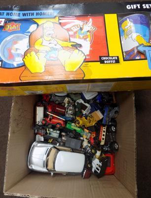Box of Diecast cars and lorries and boxed 'The Simpsons set'