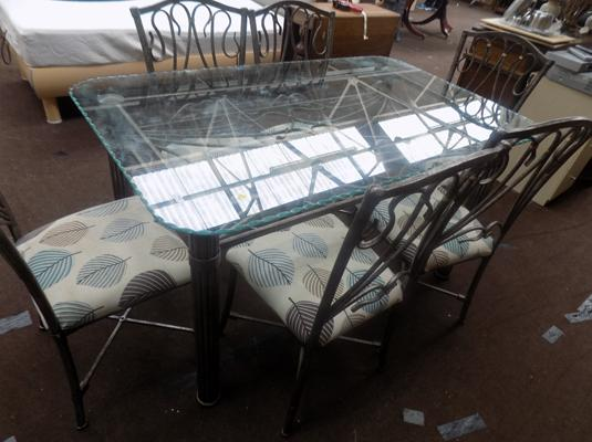 Glass topped dining table & 6 chairs