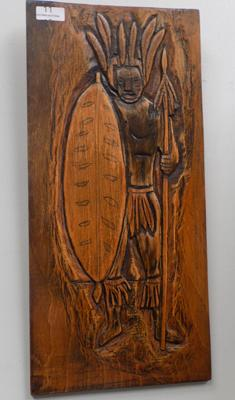 Carved wooden wallplaque
