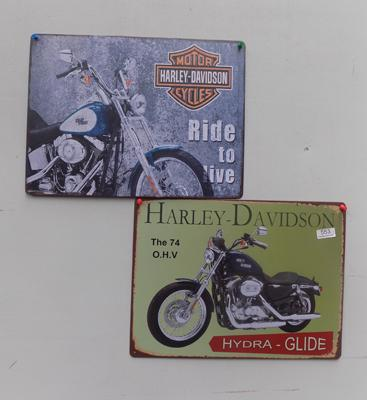Two tin plate Harley Davidson signs