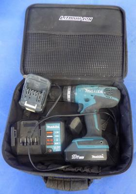 Makita 18v drill, rechargeable, 2 batteries - W/O