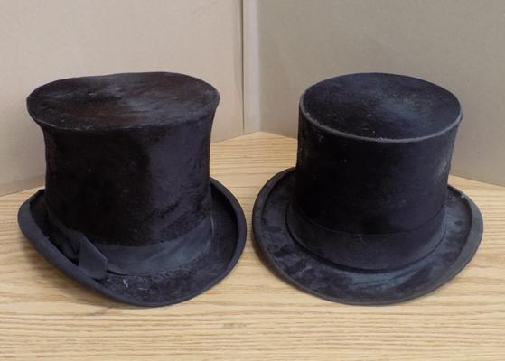 Pair of vintage top hats makers Dunn & Co & Hardy & Co
