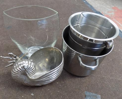Chrome wine bucket etc