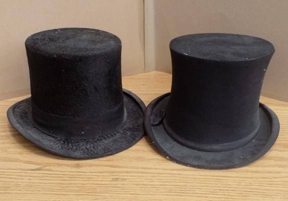 Pair of vintage top hats makers Cork Hat Co & Hanbridge