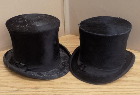 Pair of vintage top hats maker West End style