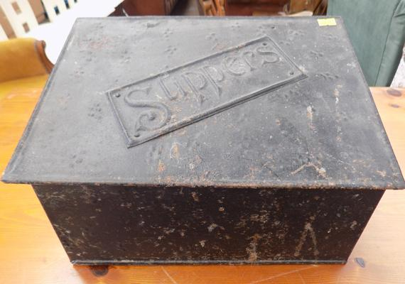Vintage tin 'slippers' box