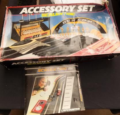 Vintage scalextric accessories set and boxed lap counter