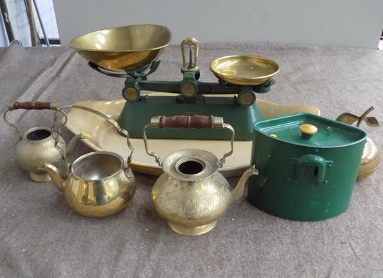 Selection of brass items, incl. scales on large ceramic server