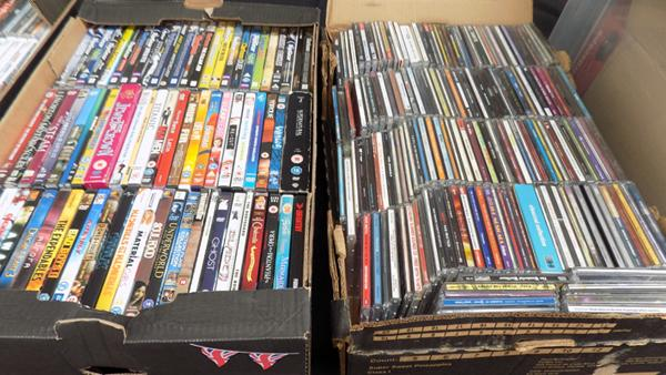 Box of DVDs & box of CDs