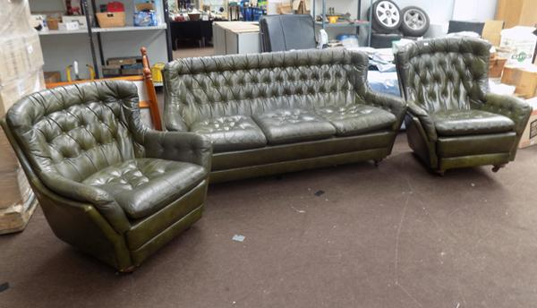 Three piece green, Chesterfield style sofa