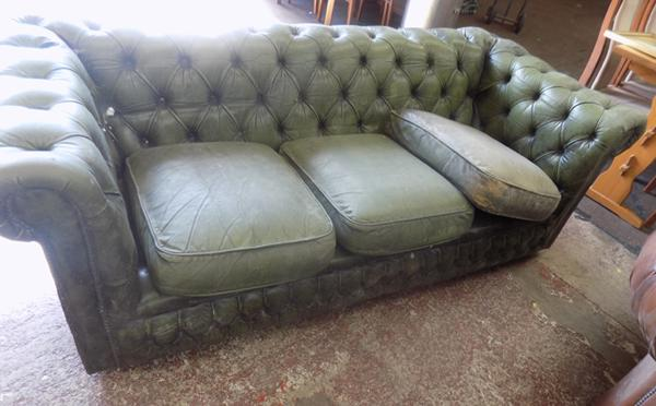 Green Chesterfield sofa for restoration-as seen, viewing recommended