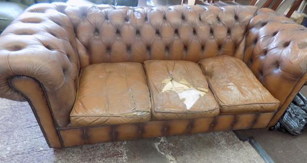 Light brown Chesterfield sofa for restoration-as seen, viewing recommended