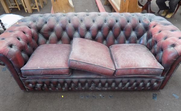 Oxblood Chesterfield sofa for restoration-as seen, viewing recommended