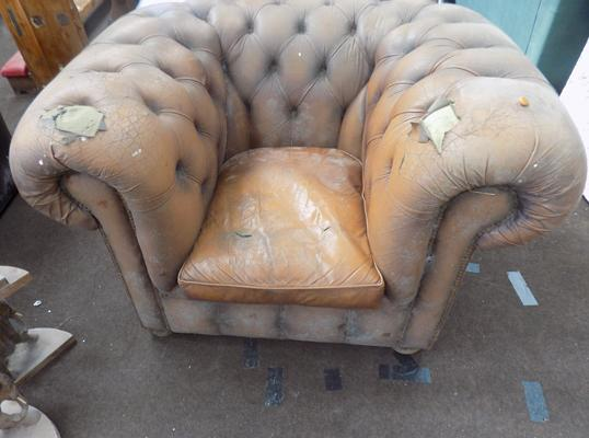 Brown Chesterfield chair for restoration-as seen, viewing recommended