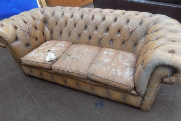 Brown Chesterfield sofa for restoration-as seen, viewing recommended