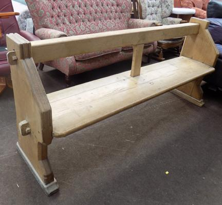 "Vintage pine church pew approx 76"" long"