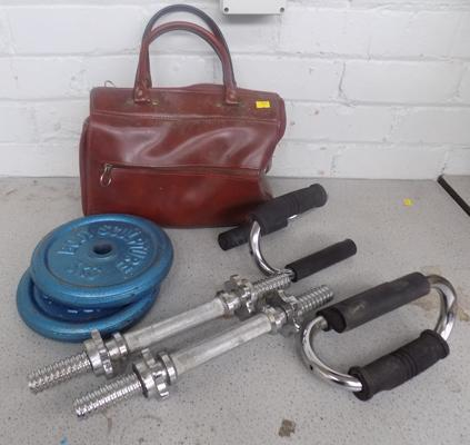 Dumbell weights & bars + press up handles etc