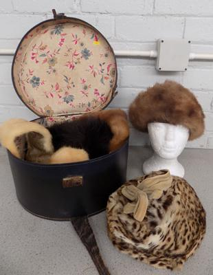 Vintage hat box, stoles + fur hats