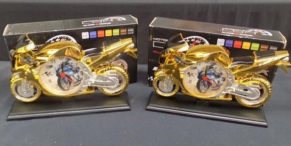 Two motorbike alarm clocks